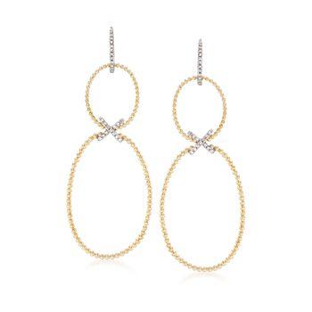 .18 ct. t.w. Diamond Double Drop Earrings in 14kt Yellow Gold , , default