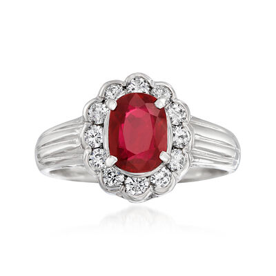 C. 2000 Vintage 1.15 Carat Ruby and .38 ct. t.w. Diamond Ring in Platinum, , default