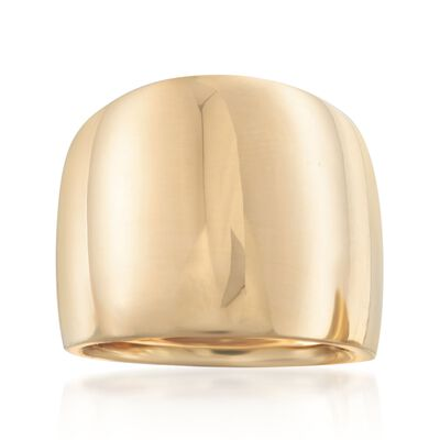 Italian 18kt Yellow Gold Wide Polished Ring, , default