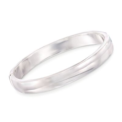 10mm Sterling Silver Wide Bangle Bracelet, , default