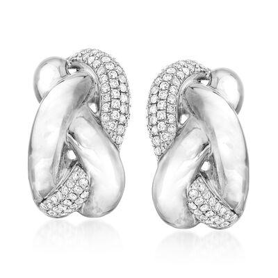 .90 ct. t.w. Diamond Braided Earrings in 14kt White Gold, , default