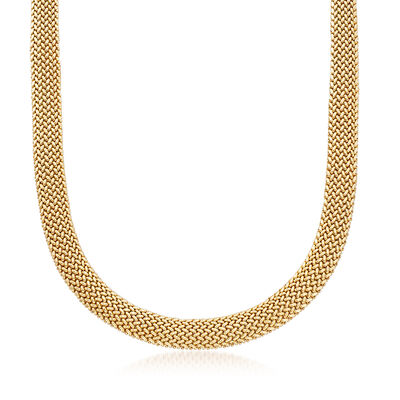 C. 1980 Vintage 14kt Yellow Gold Mesh-Weave Necklace