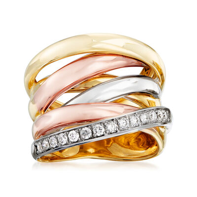 .35 ct. t.w. Diamond Highway Ring in 14kt Tri-Colored Gold, , default