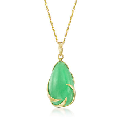 Pear-Shaped Green Jade Cabochon Necklace in 14kt Yellow Gold, , default