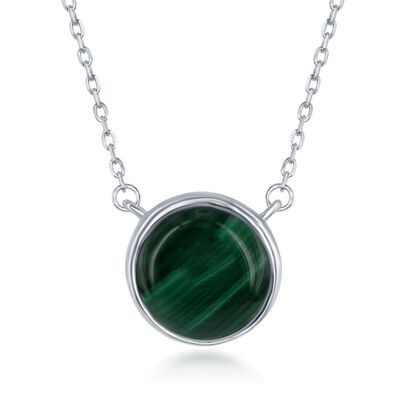 Bezel-Set Malachite Necklace in Sterling Silver, , default