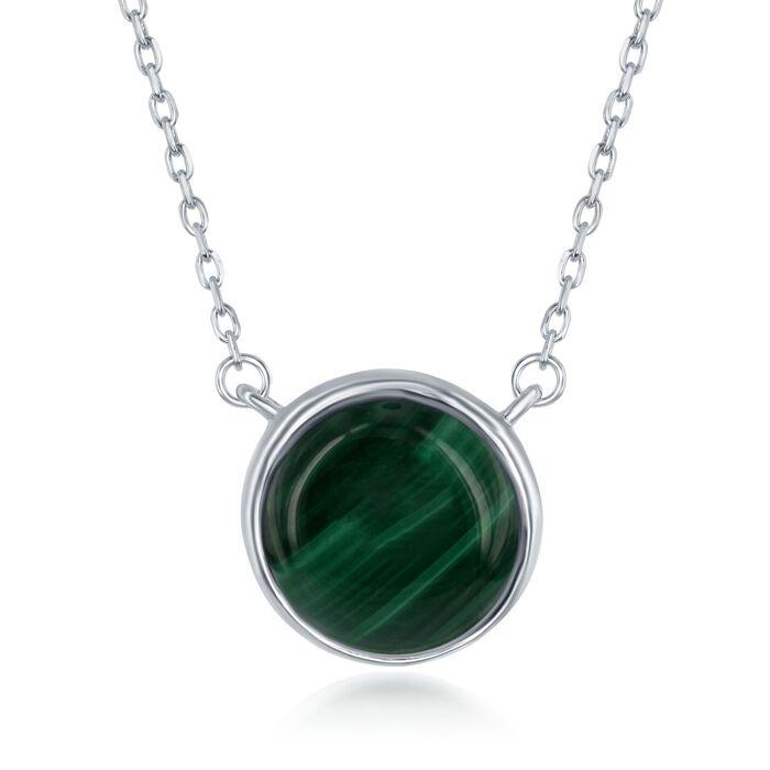 "Bezel-Set Malachite Necklace in Sterling Silver. 17.5"", , default"