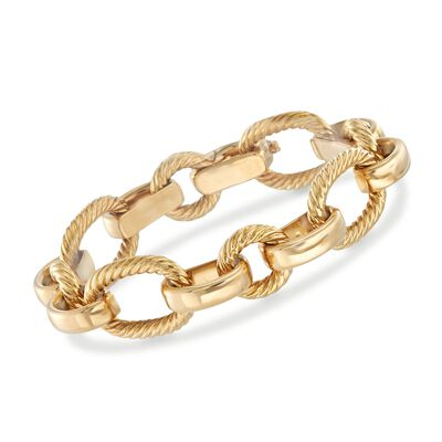 Italian 18kt Yellow Gold Mixed Oval Link Bracelet, , default