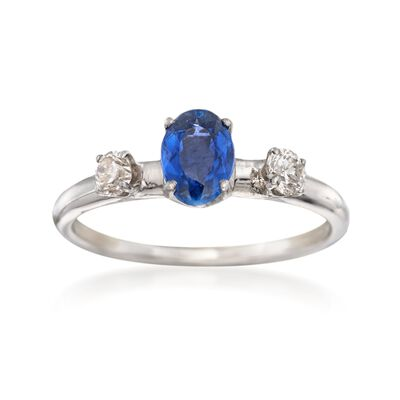 C. 1990 Vintage .85 Carat Sapphire and .25 ct. t.w. Diamond Ring in 14kt White Gold, , default