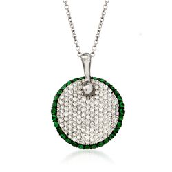 "Simon G. .65 ct. t.w. Diamond and .48 ct. t.w. Tsavorite Pendant Necklace in 18kt White Gold. 17"", , default"