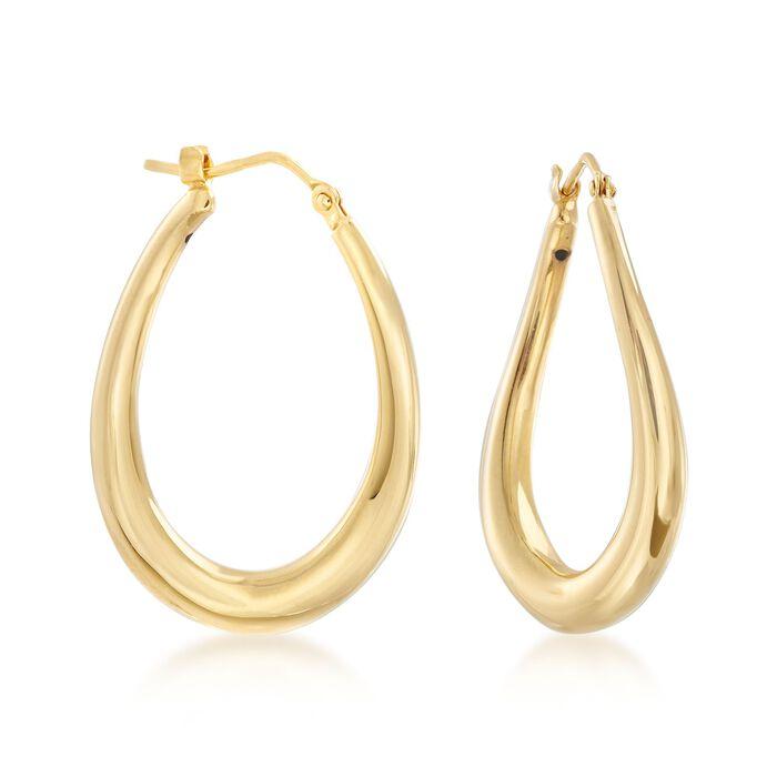 """Italian 14kt Yellow Gold Oval Hoop Earrings. 11/4"""", , default"""