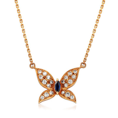 C. 1980 Vintage Tasaki .38 ct. t.w. Diamond and .15 Carat Sapphire Butterfly Necklace in 18kt Rose Gold