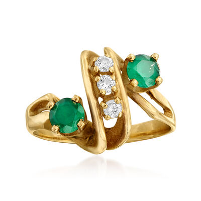 C. 1970 Vintage Green Glass and .15 ct. t.w. Diamond Ring in 14kt Yellow Gold, , default