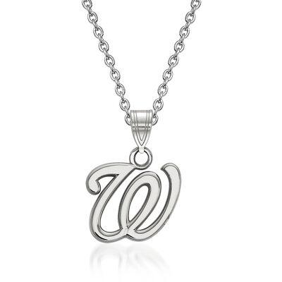 "Sterling Silver MLB Washington Nationals Pendant Necklace. 18"", , default"