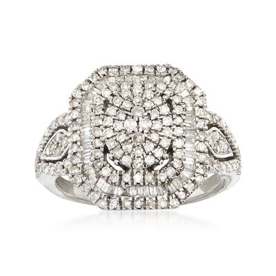 1.00 ct. t.w. Round and Baguette Diamond Multi-Level Ring in Sterling Silver, , default