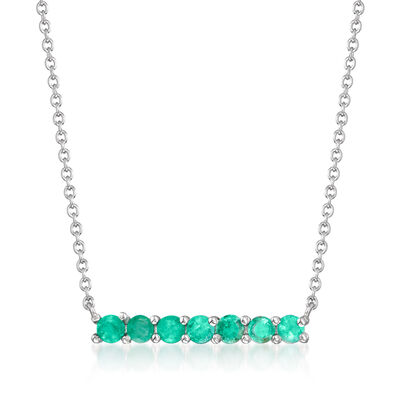 .50 ct. t.w. Emerald Bar Necklace in Sterling Silver, , default