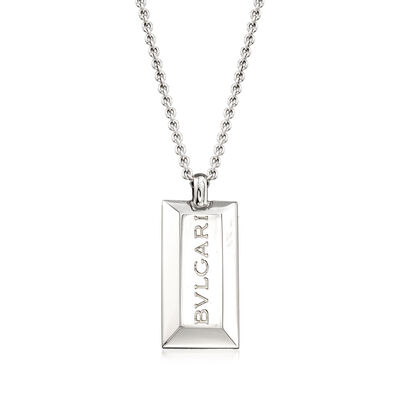 C. 1980 Vintage Bulgari Bar Pendant Necklace in 18kt White Gold, , default