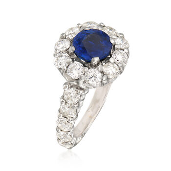 3.00 ct. t.w. Diamond and 2.35 Carat Sapphire Ring in 14kt White Gold. Size 7