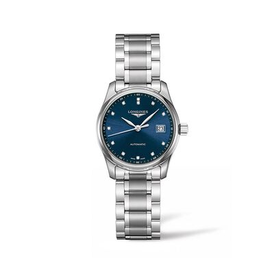 Longines Master Women's 29mm Automatic Stainless Steel Watch with Diamonds - Blue Dial, , default