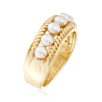 3.5-4mm Cultured Pearl Ring in 14kt Yellow Gold