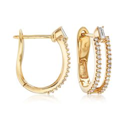 .49 ct. t.w. Round and Baguette Diamond Double-Row U-Shaped Hoop Earrings in 14kt Yellow Gold , , default
