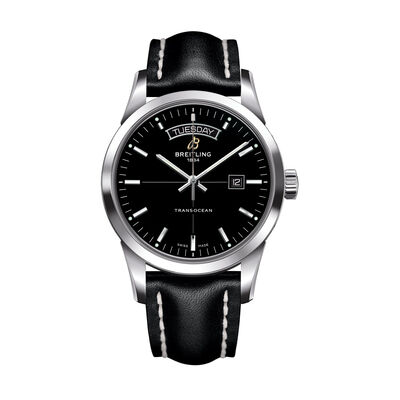 Breitling Transocean Day-Date Men's 43mm Stainless Steel and Black Leather Watch