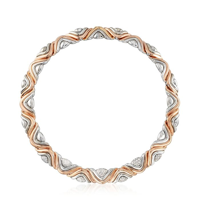 "C. 1980 Vintage House of Gubelin 1.60 ct. t.w. Diamond Swirl Collar Necklace in 18kt Two-Tone Gold. 17.5"", , default"