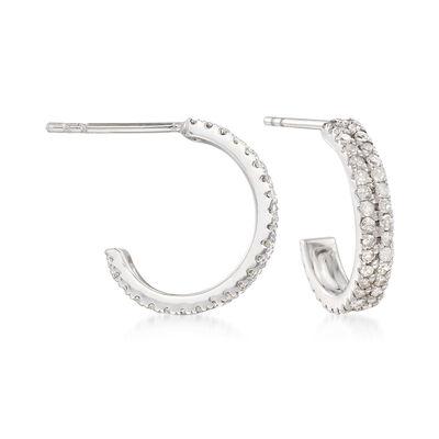 .50 ct. t.w. Diamond Double-Row Hoop Earrings in 14kt White Gold, , default