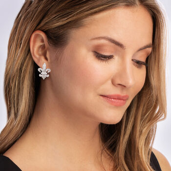 1.00 ct. t.w. Diamond Fleur-De-Lis Earrings in Sterling Silver, , default