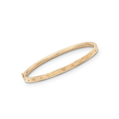 Child's 14kt Yellow Gold Heart Bangle Bracelet, , default