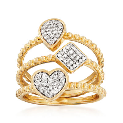 .34 ct. t.w. Diamond Multi-Shape Jewelry Set: Three Rings in 14kt Yellow Gold