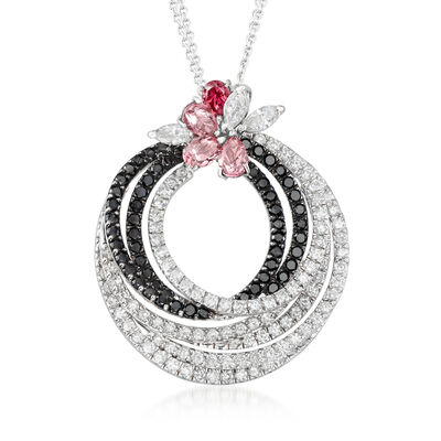 C. 2000 Vintage Stefan Hafner 5.01 ct. t.w. Black and White Diamond and 2.45 ct. t.w. Pink Tourmaline Swirl Necklace in 18kt White Gold, , default