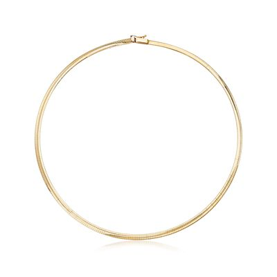 Italian 4mm 14kt Yellow Gold Omega Necklace, , default