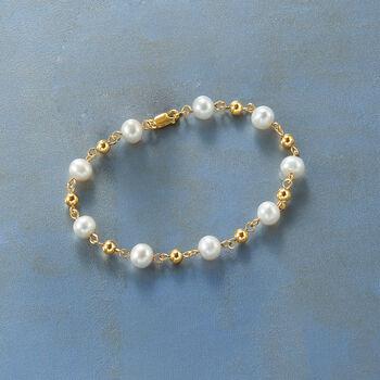 """7mm Cultured Pearl Bracelet Station Bracelet in 18kt Gold Over Stelring. 8.25"""""""