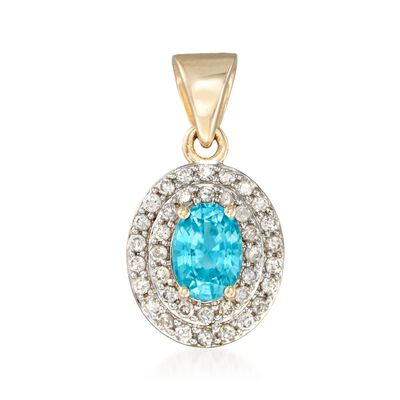1.40 Carat Oval Blue Zircon and .38 ct. t.w. Diamond Double Halo Pendant in 14kt Gold