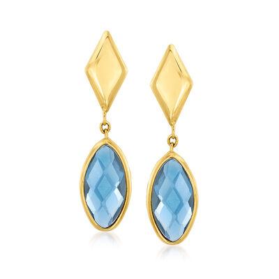 Italian .40 ct. t.w. London Blue Topaz Drop Earrings in 14kt Yellow Gold