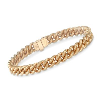 8mm 18kt Yellow Gold Curb-Link Bracelet, , default