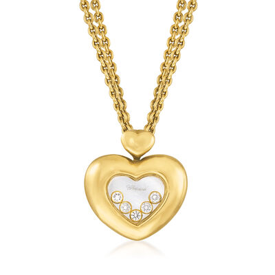 C. 1980 Vintage Chopard .25 ct. t.w. Diamond Heart Pendant Necklace in 18kt Yellow Gold