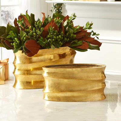 Set of 2 Golden Aluminum Wave Planters, , default