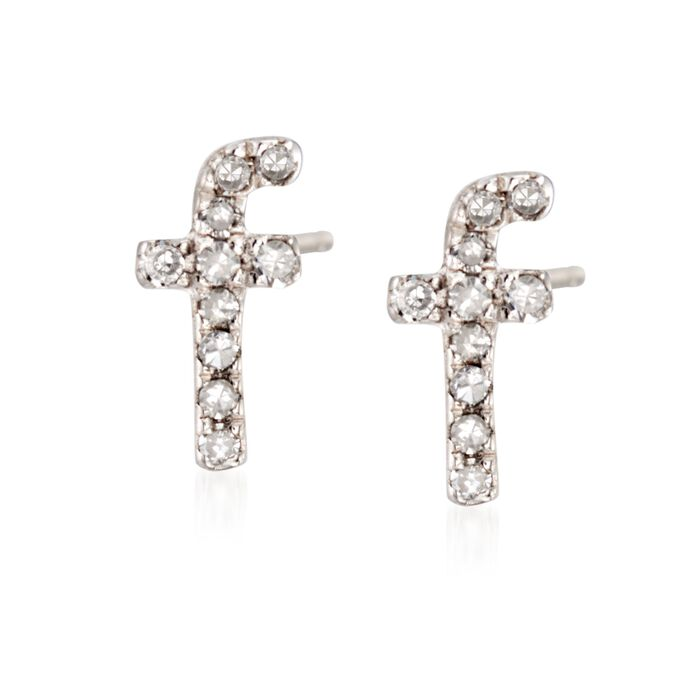 Diamond Accent Lowercase Block Initial Stud Earrings in Sterling Silver