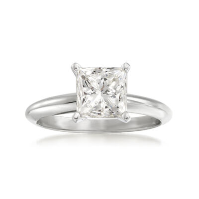 2.02 Carat Certified Princess-Cut Diamond Ring in 14kt White Gold