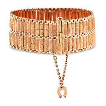 """C. 1970 Vintage 18kt Rose Gold Textured and Polished Wide Bracelet. 7"""", , default"""