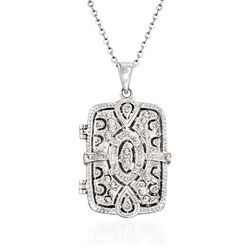 ".30 ct. t.w. CZ Filigree Locket Necklace in Sterling Silver. 18"", , default"