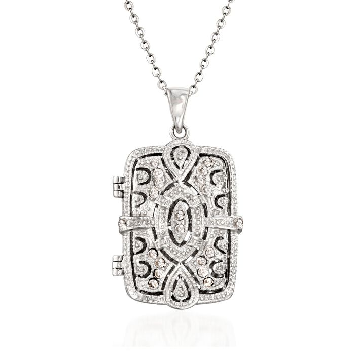 ".30 ct. t.w. CZ Filigree Locket Necklace in Sterling Silver. 18"", , default"