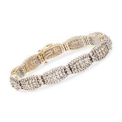 C. 1990 Vintage 7.00 ct. t.w. Diamond Cluster Bracelet in 14kt Yellow Gold, , default