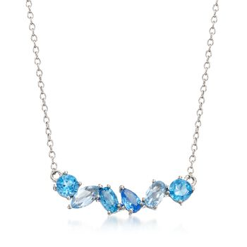 """1.10 ct. t.w. Tonal Blue Topaz and .10 Carat Blue Synthetic Spinel Necklace in Sterling Silver. 18"""", , default"""