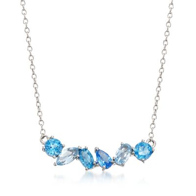 1.10 ct. t.w. Tonal Blue Topaz and .10 Carat Blue Synthetic Spinel Necklace in Sterling Silver , , default