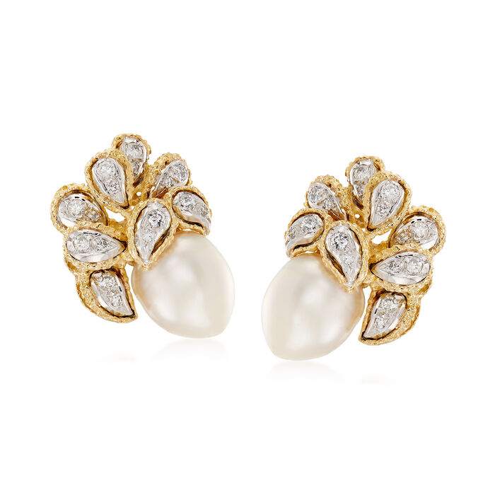 C. 1970 Vintage Cultured South Sea Pearl and .50 ct. t.w. Diamond Leaf Earrings in 18kt Yellow Gold, , default