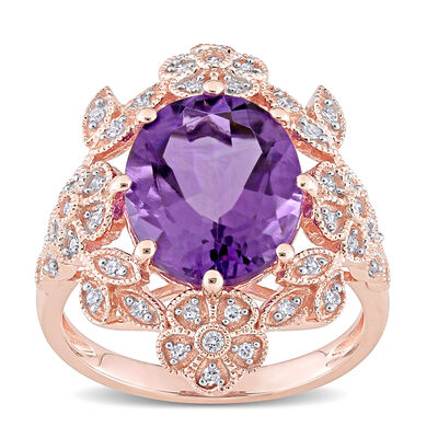 4.00 Carat Amethyst and .17 ct. t.w. Diamond Cocktail Ring in 14kt Rose Gold