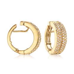 "C. 1990 Vintage 1.50 ct. t.w. Diamond Double-Hoop Earrings in 18kt Yellow Gold. 5/8"", , default"