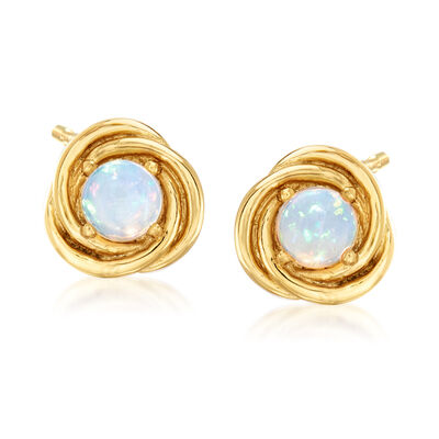 Opal Love Knot Stud Earrings in 18kt Gold Over Sterling